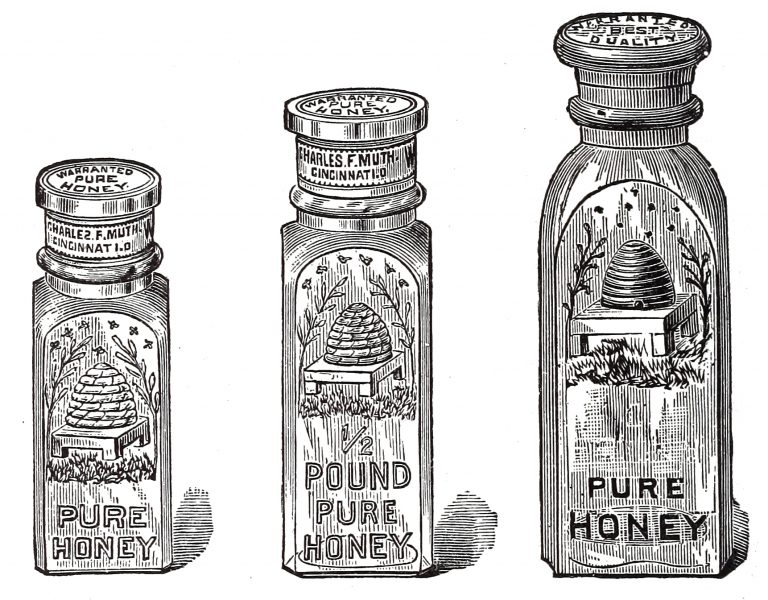 Free_Vintage_Clip_Art_Glass_Honey_Jar_Illustration